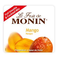 Етикет на Плодово пюре манго на Монин