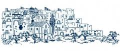 Изображение на град Патра от еникет на Мастиха Пилавас