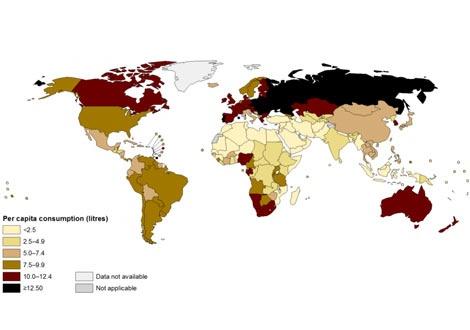 Карта на консумацията на алкохол в света по държави