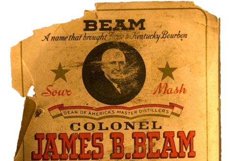 Етикет от стара бутилка Джим Бийм