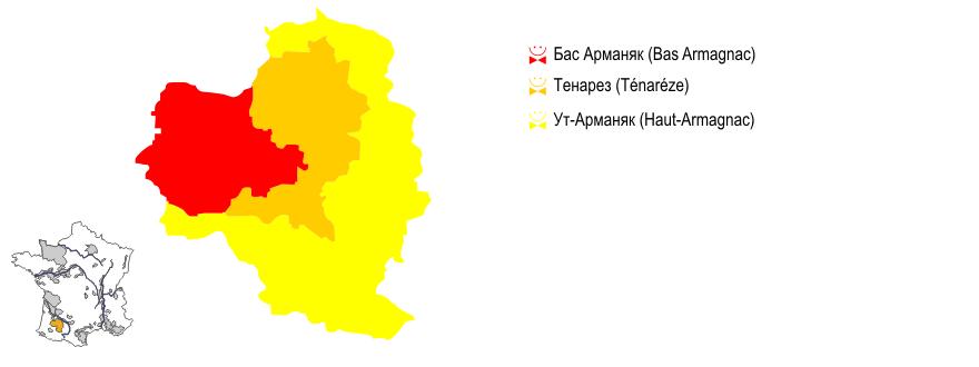 Карта на регионите в Арманяк панорамна