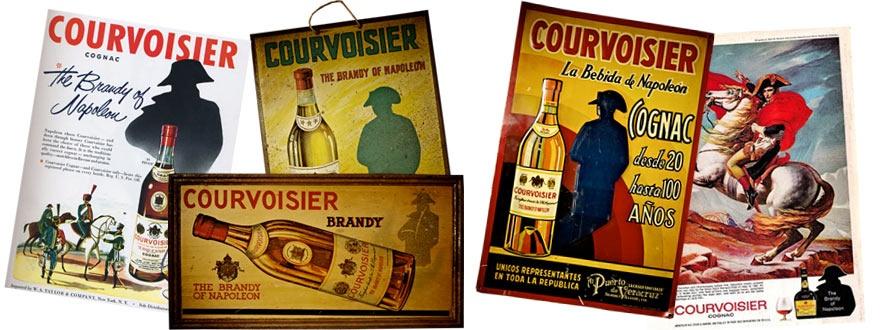 Плакати на на марката Курвоазие, утвърждаваща коняка като «Брендито на