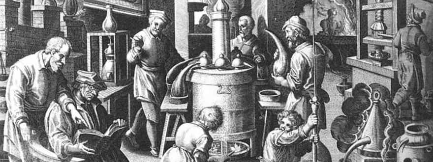 Алхимици в лаборатория