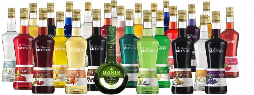 Всички продукти на линията коктейлни ликьори на Монин